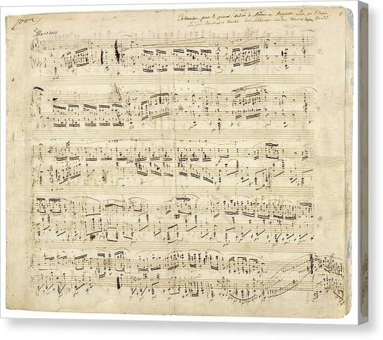 Old Music Notes - Chopin Music Sheet Canvas Print