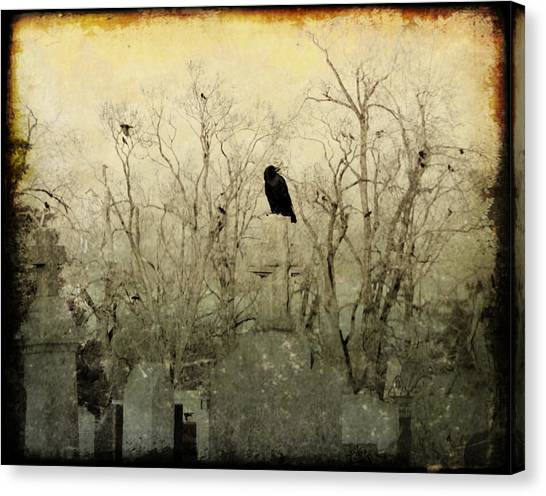 Ravens In Graveyard Canvas Print - Old Necropolis by Gothicrow Images