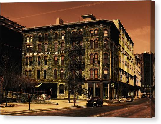 Old Office Furniture Building Canvas Print