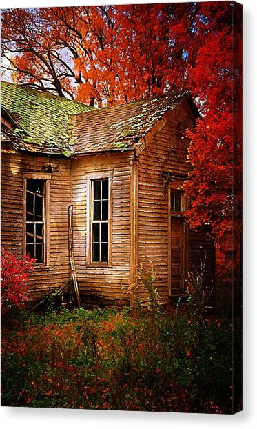 Abandoned School Canvas Print - Old One Room School House In Autumn by Julie Dant