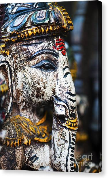 Old Painted Wooden Ganesha Canvas Print
