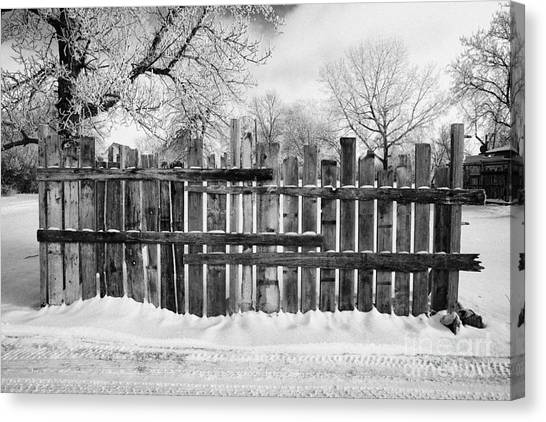 Harsh Conditions Canvas Print - old patched up wooden fence using old bits of wood in snow Forget Saskatchewan  by Joe Fox