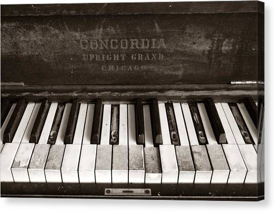 Ivory Canvas Print - Old Piano Keys by Jim Hughes
