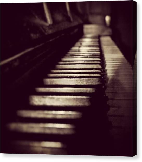 Ivory Canvas Print - #old #piano #keys #keyboard #sky #wood by Toonster The Bold