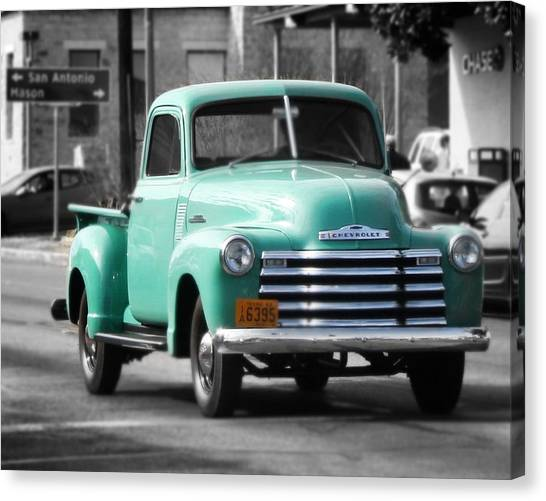 Old Pickup Truck Photo Teal Chevrolet Canvas Print