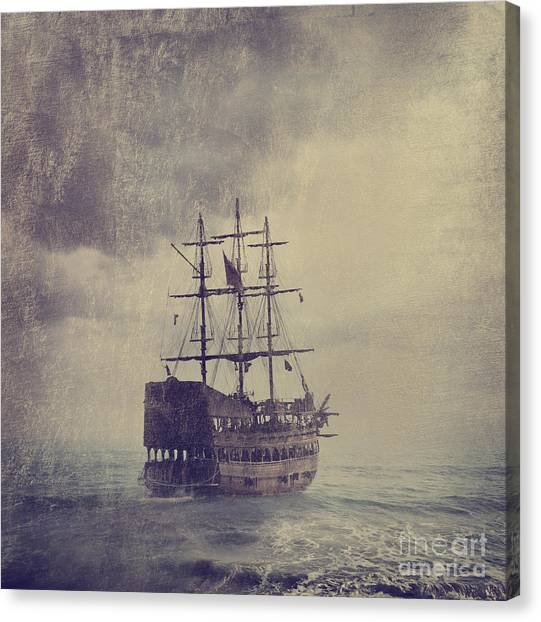 Old Pirate Ship Canvas Print by Jelena Jovanovic