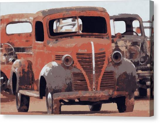 Rusty Truck Canvas Print - Old Plymouth Trucks by Ernie Echols
