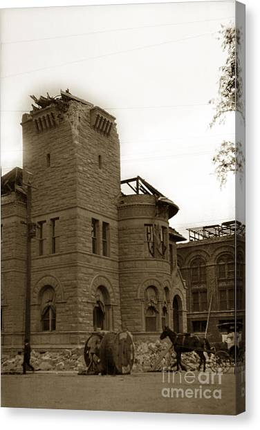 San Jose Earthquakes Canvas Print - Old Post Office San Jose Ca 1906 by California Views Mr Pat Hathaway Archives
