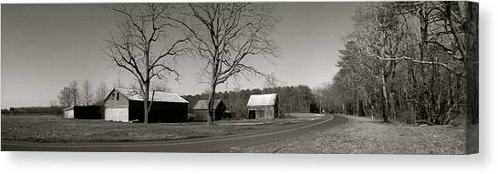 Old Red Barn In Black And White Long Canvas Print