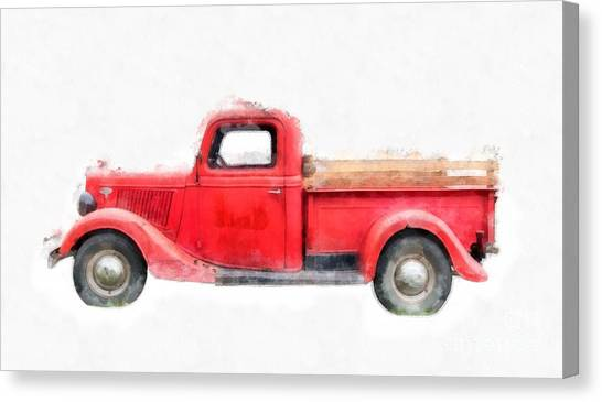 Ford Truck Canvas Print - Old Red Ford Pickup by Edward Fielding