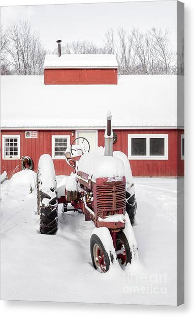 Big Red Canvas Print - Old Red Tractor In Front Of Classic Sugar Shack by Edward Fielding