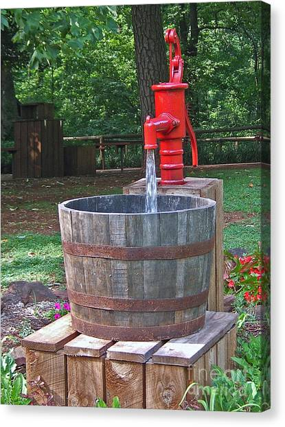 Old Red Water Pump Canvas Print
