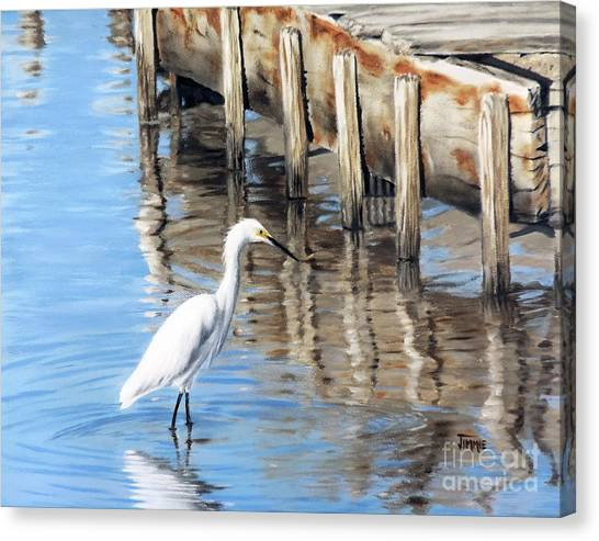 Old River Wharf In Matagorda Canvas Print
