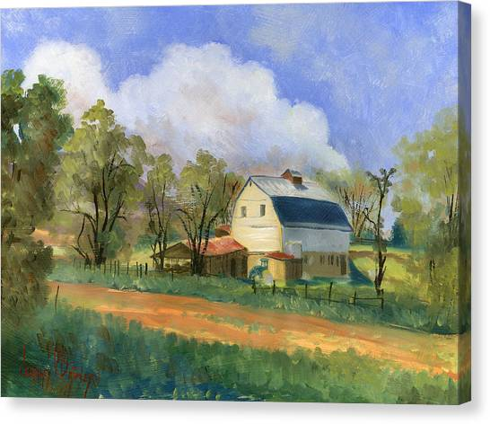 Early Spring Canvas Print - Old Saunders Barn by Jeff Brimley