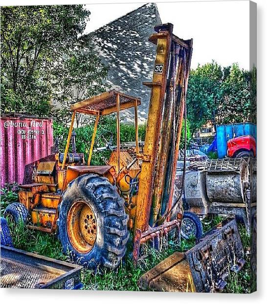 Forklifts Canvas Print - Old School Forklift by Brian Lyons