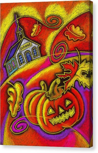 Pumpkin Patch Canvas Print - Old School House by Leon Zernitsky