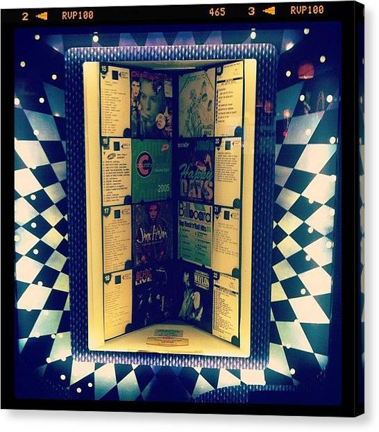 Jukebox Canvas Print - Old School #jukebox #recordmachines by Jennifer Rubin