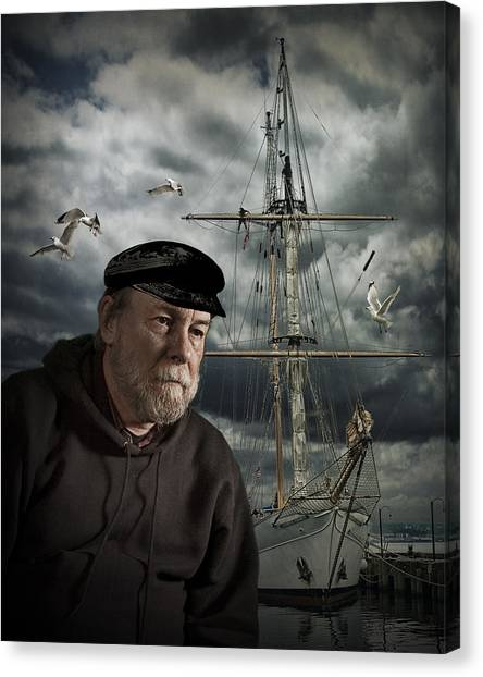 Angler Art Canvas Print - Old Sea Captain by Randall Nyhof