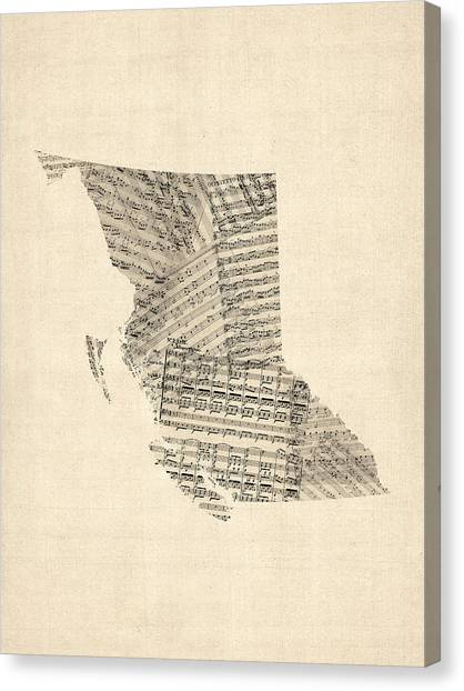 British Columbia Canvas Print - Old Sheet Music Map Of British Columbia Canada by Michael Tompsett