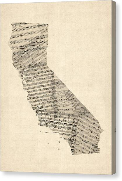 Sheet Canvas Print - Old Sheet Music Map Of California by Michael Tompsett