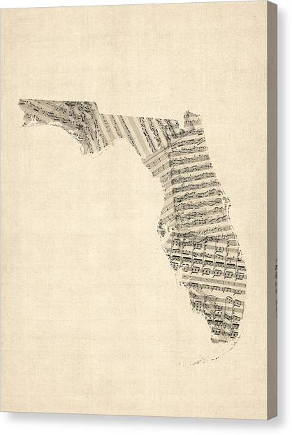 Miami Canvas Print - Old Sheet Music Map Of Florida by Michael Tompsett
