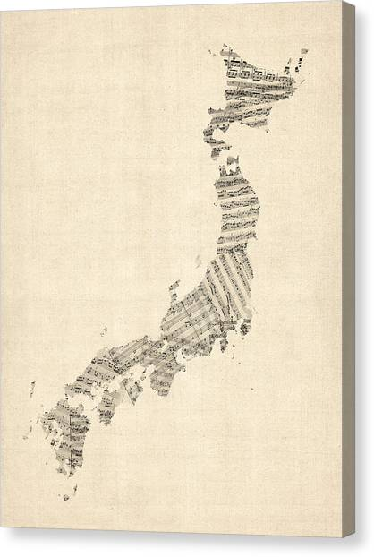 Sheet Canvas Print - Old Sheet Music Map Of Japan by Michael Tompsett