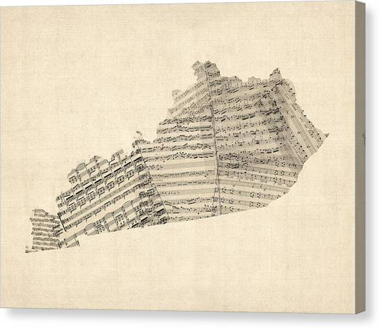 Kentucky Canvas Print - Old Sheet Music Map Of Kentucky by Michael Tompsett