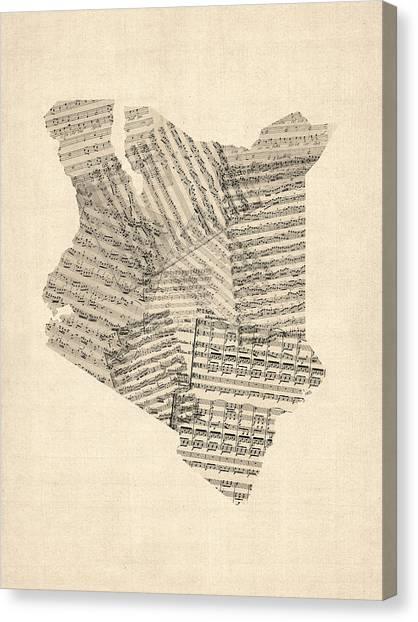 Sheet Music Canvas Print - Old Sheet Music Map Of Kenya Map by Michael Tompsett