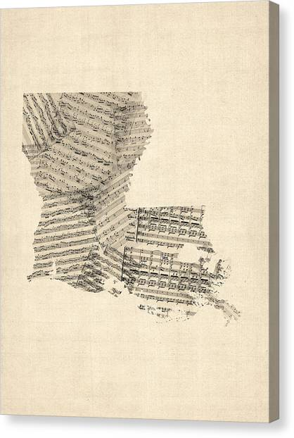 Old Canvas Print - Old Sheet Music Map Of Louisiana by Michael Tompsett