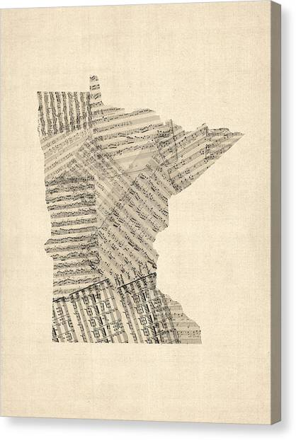 Old Sheet Music Canvas Print - Old Sheet Music Map Of Minnesota by Michael Tompsett