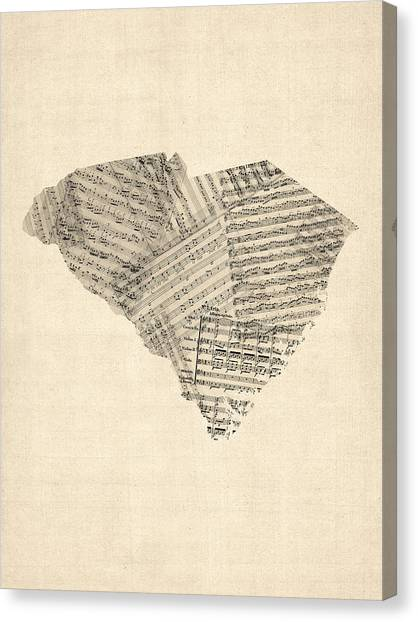 South Carolina Canvas Print - Old Sheet Music Map Of South Carolina by Michael Tompsett