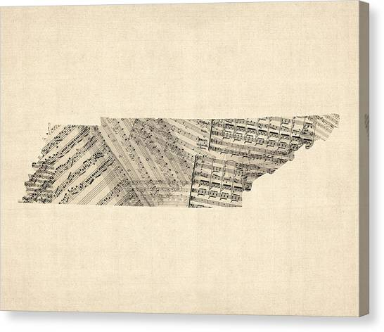 Tennessee Canvas Print - Old Sheet Music Map Of Tennessee by Michael Tompsett