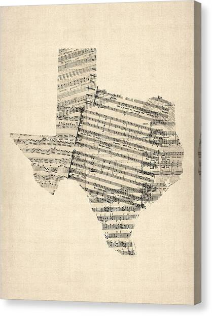 Dallas Canvas Print - Old Sheet Music Map Of Texas by Michael Tompsett