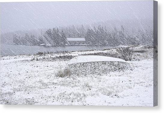 Smokehouses Canvas Print - Old Smokehouse Snowscape by Marty Saccone