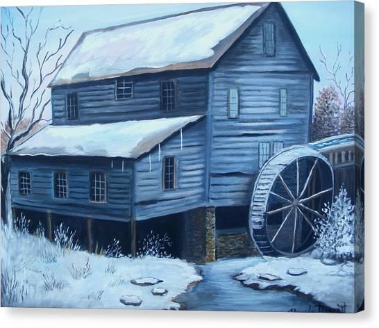 Old Snow Covered Mill Canvas Print by Glenda Barrett