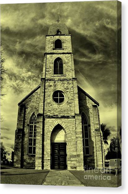 Old St. Mary's Church In Fredericksburg Texas In Sepia Canvas Print