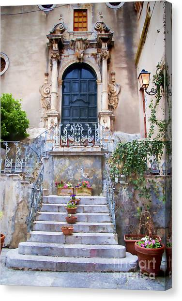 Taormina Canvas Print - Old Steps In Taormina Sicily by David Smith