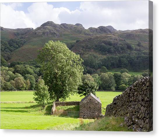 Drywall Canvas Print - Old Stone Farm Building In Lake District by Steven Heap