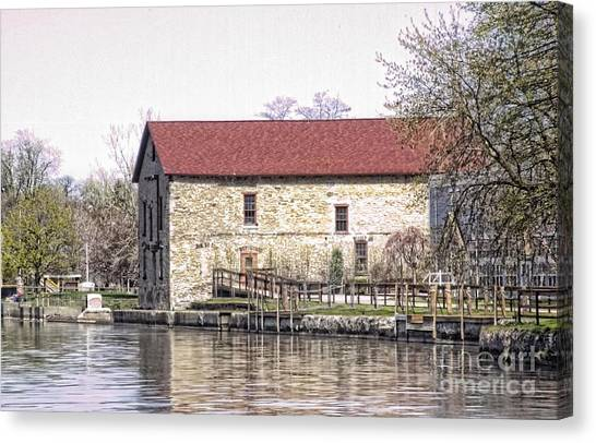 Old Stone House On The Canal Canvas Print