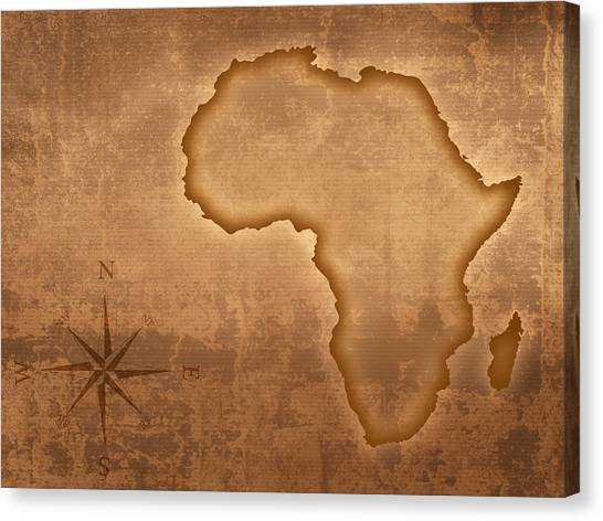 Old Age Canvas Print - Old Style Africa Map by Johan Swanepoel