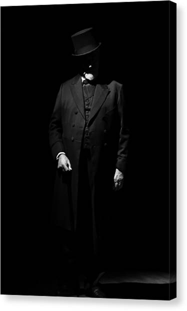 Vintage Gentlemen With Tall Hat - Style Has Not Deadline Canvas Print