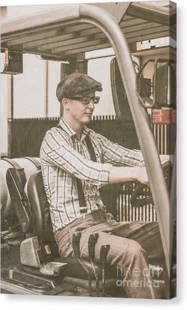 Forklifts Canvas Print - Old Style Warehouse Worker Driving Forklift by Jorgo Photography - Wall Art Gallery