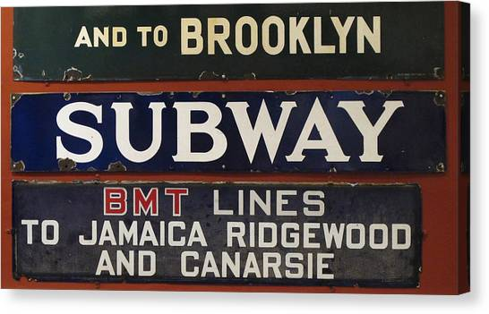 Ridgewood Canvas Print - Old Subway Signs by Dave Mills