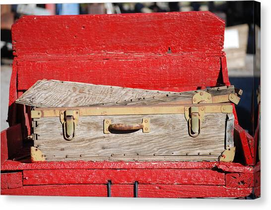 Old Suitcase Canvas Print by Pamela Schreckengost