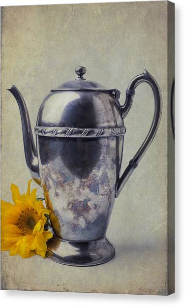 Tea Time Canvas Print - Old Teapot With Sunflower by Garry Gay