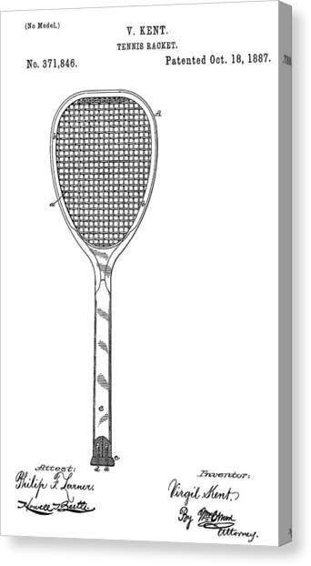 Tennis Racquet Canvas Print - Old Tennis Racket Patent by Dan Sproul