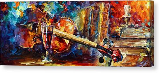 Fiddling Canvas Print - Old Thoughts by Leonid Afremov