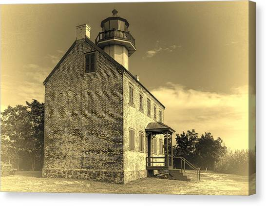 Renovation Canvas Print - Old Time East Point Light by Joan Carroll