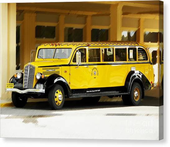 Old Time Yellowstone Bus Canvas Print
