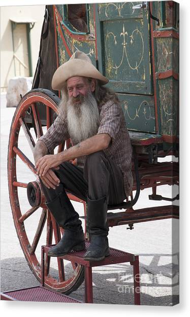 Old Timer Watching The Dying Of The West Canvas Print